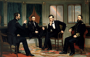 Míroví vyjednávači (The Peacemakers), George Peter   Alexander Healy, 1868, zleva William Sherman,   Ulysses S. Grant, Lincoln, and David Porter   vyjednávají mír na palubě parníku River Queen na   konci války 27. a 28. března 1865.