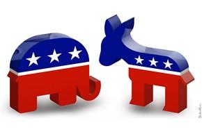 Symboly amerických politických stran: osel Demokratů a slon Republikánů.