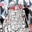 David Perre vytváří street artové dílo na stěně GHMP